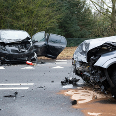 Two cars involved in a severe car accident